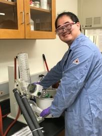 Yan using the rotary evaporator